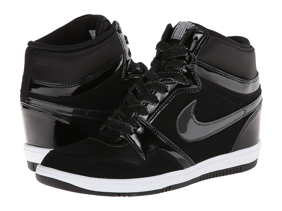 Nike - Force Sky High Sneaker Wedge (Black/Black/White/Anthracite) Women's Shoes