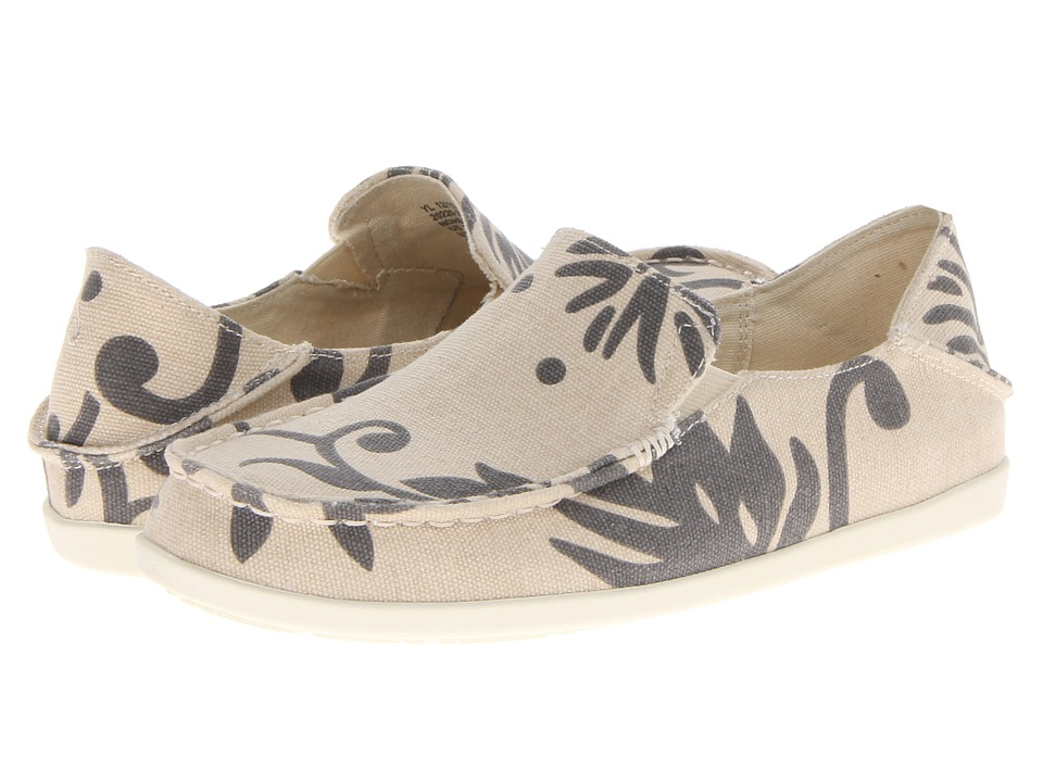 OluKai - Nohea Canvas Print (Tapa/Charcoal) Women's Slip on Shoes