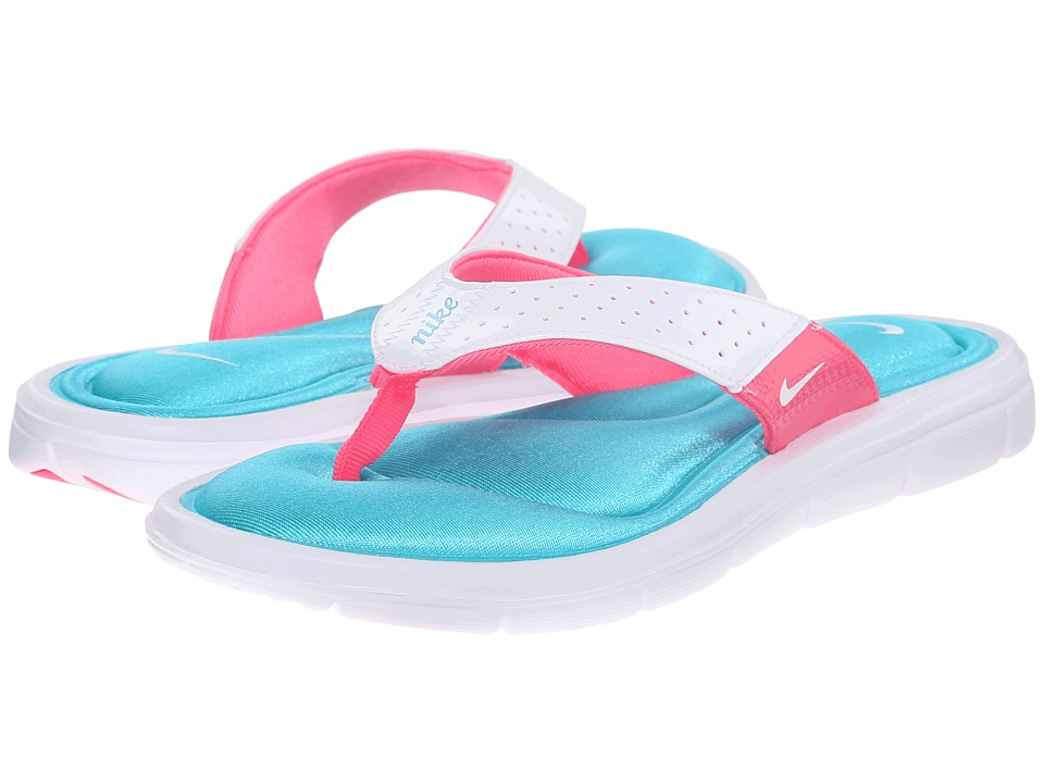 Nike - Comfort Thong (White/Turquoise/Pink Flash) Women's Sandals