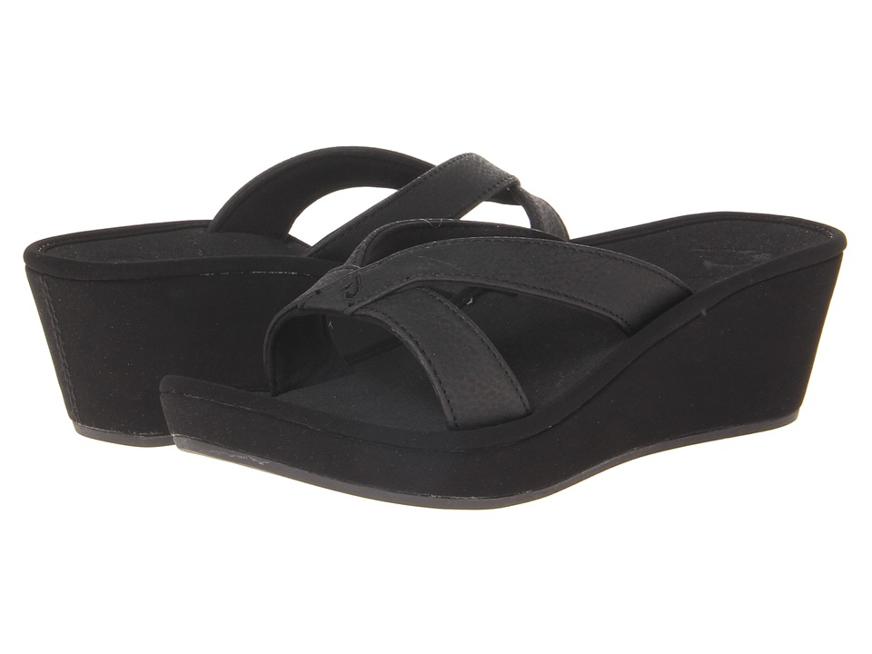 OluKai - 'Ohana Wedge (Black/Black) Women's Sandals