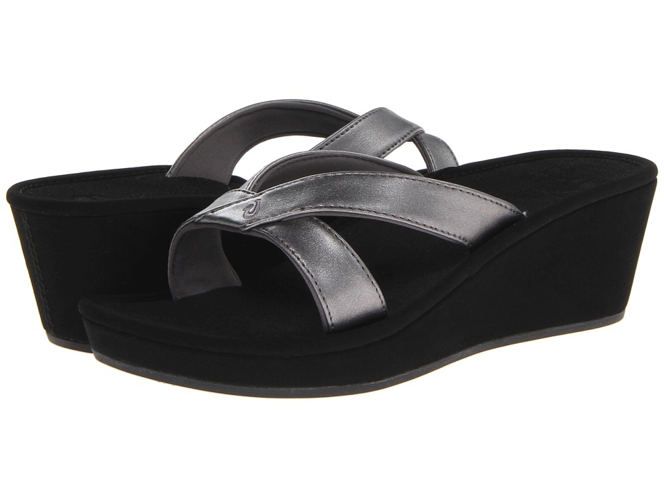 OluKai - 'Ohana Wedge (Pewter/Black/Metal Crush/Nappa Wax) Women's Sandals