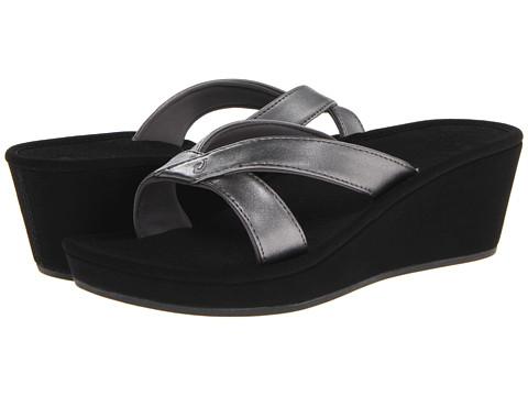 OluKai - 'Ohana Wedge (Pewter/Black/Metal Crush/Nappa Wax) Women's Sandals