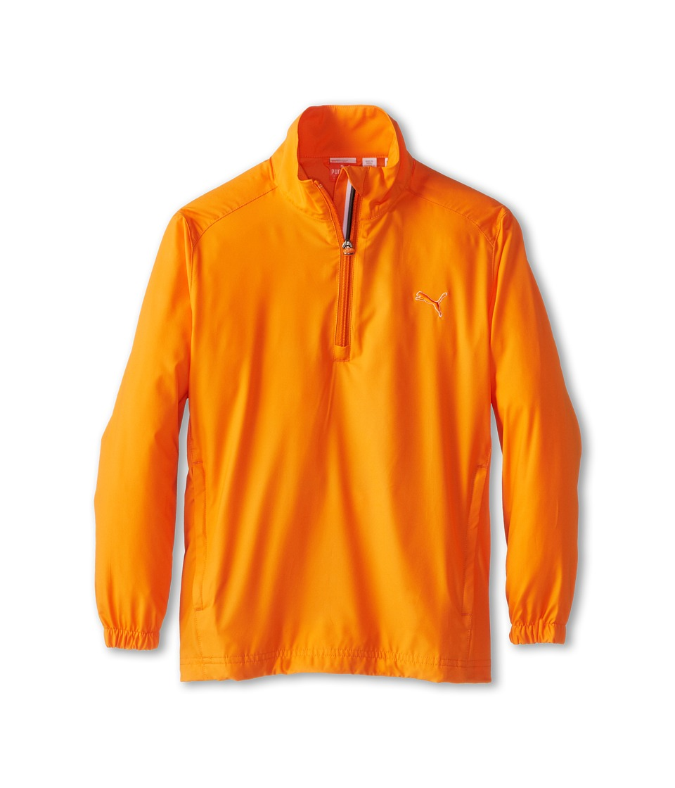 PUMA Golf Kids - Half Zip Wind Jacket (Big Kids) (Vibrant Orange) Boy's Coat