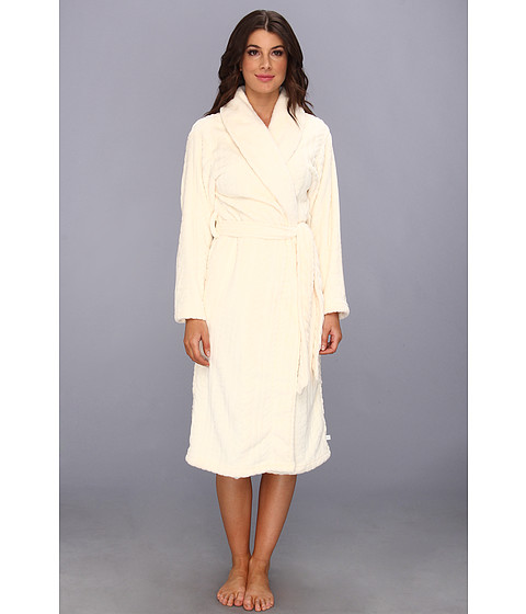 Karen Neuburger - Printed Plush L/S Tie Robe (Solid Cream) Women's Robe