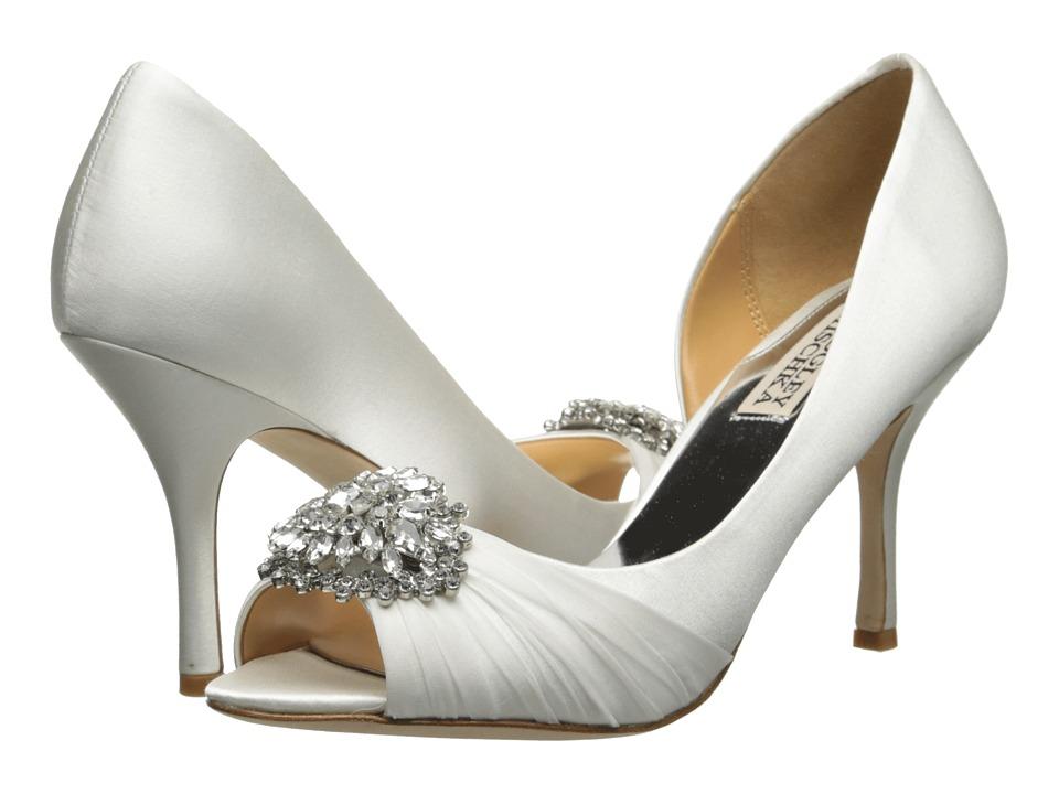 Badgley Mischka Pearson White Satin High Heels