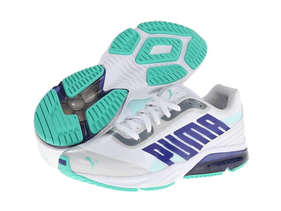 PUMA - Powertech Defier SL (White/Spectrum Blue/Electric Green) Women's Shoes
