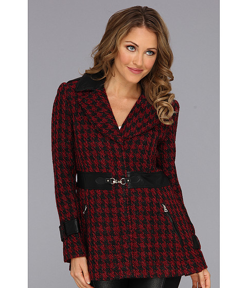 Jessica Simpson - Houndscheck Wool Coat (Burgundy/Black) Women's Coat