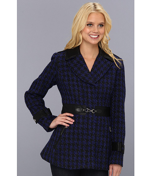 Jessica Simpson - Houndscheck Wool Coat (Blue/Black) Women's Coat