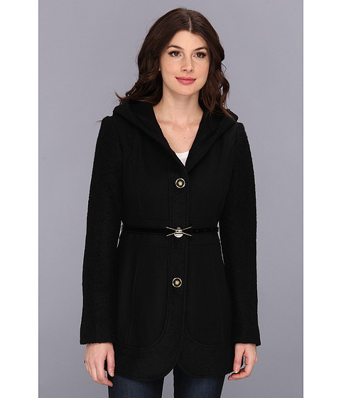 Jessica Simpson - Boucle and Melton Wool Coat (Black) Women's Coat