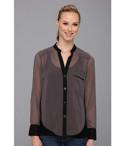 KUT from the Kloth - Color Block L/S Button Up Top (Grey/Black) Women's Blouse