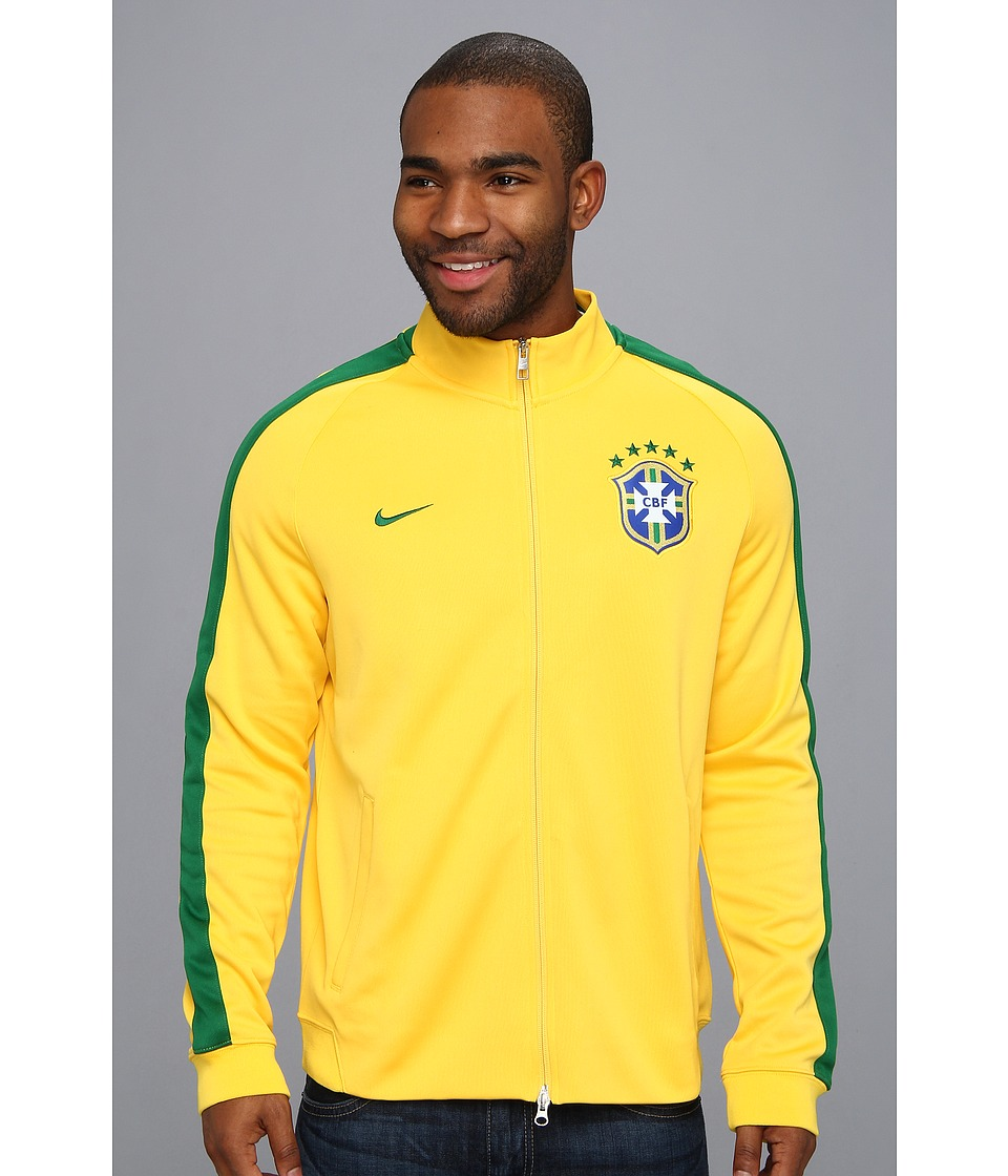 Nike - N98 Brazil Authentic Track Jacket (Varsity Maize/Pine Green) Men's Coat