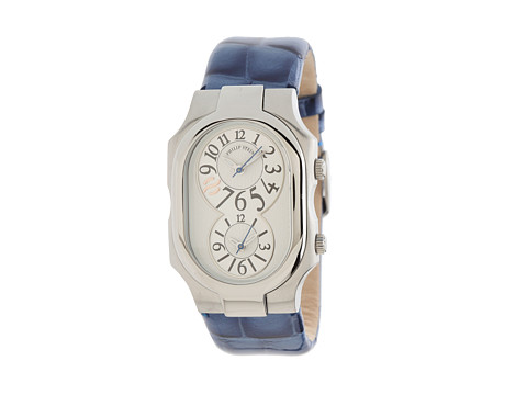 Philip Stein - Large Signature Stainless Steel Watch on Royal Blue Alligator Print Patent Strap (Blue) Watches