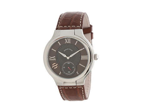 Philip Stein - Large Round Stainless Steel Watch on Dark Brown Stitched Alligator Strap (Dark Brown) Watches