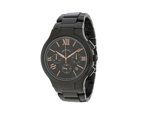 Philip Stein - Chronograph Round Black PVD Watch on Black PVD Bracelet (Black) Watches