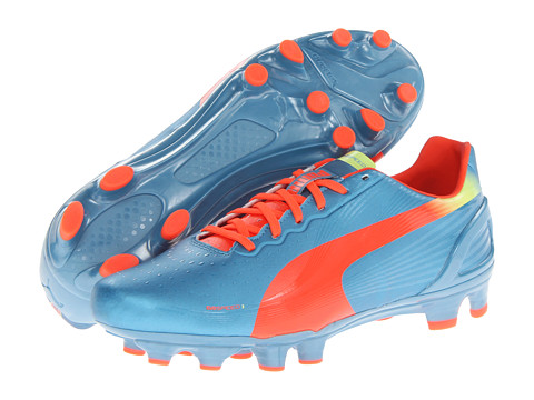 PUMA - evoSPEED 3.2 FG (Sharks Blue/Fluro Orange/Fluro) Men's Cleated Shoes