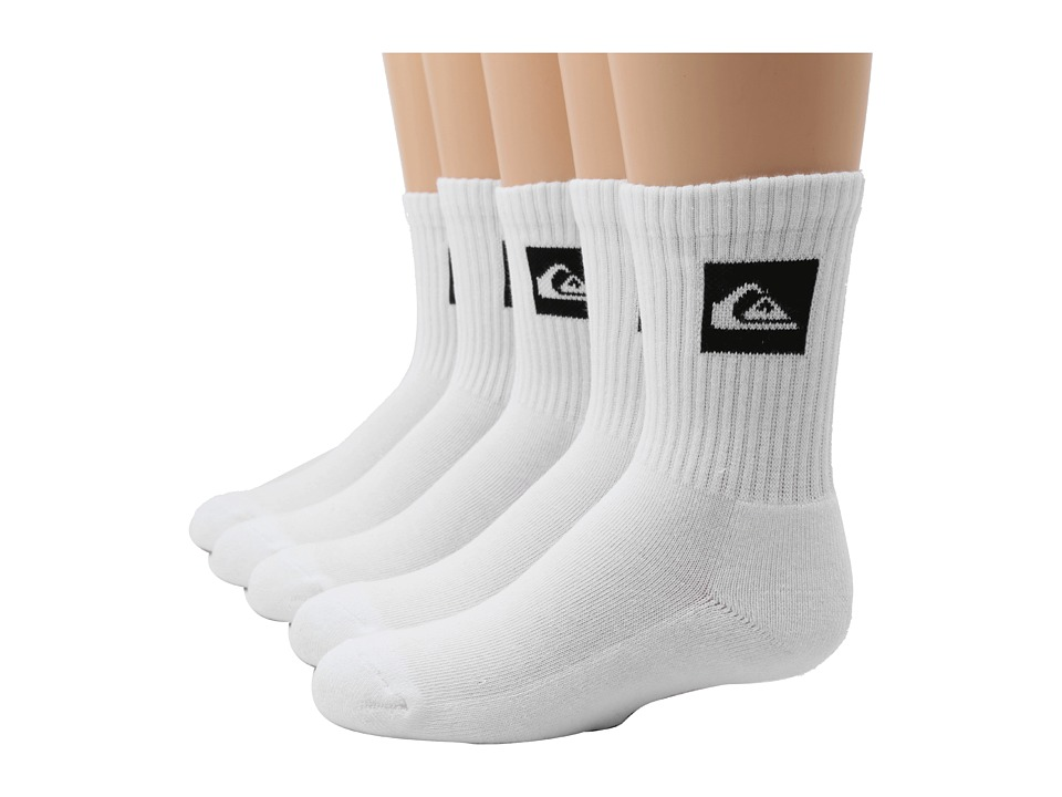 Quiksilver - Legacy Crew 5-Pair Pack (Big Kids) (White) Men's Crew Cut Socks Shoes