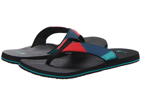 Sanuk - Block Party (Blue/Red) Men's Sandals