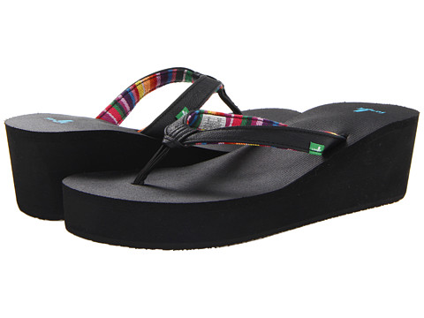 Sanuk - Springwater Wedge (Black) Women's Sandals