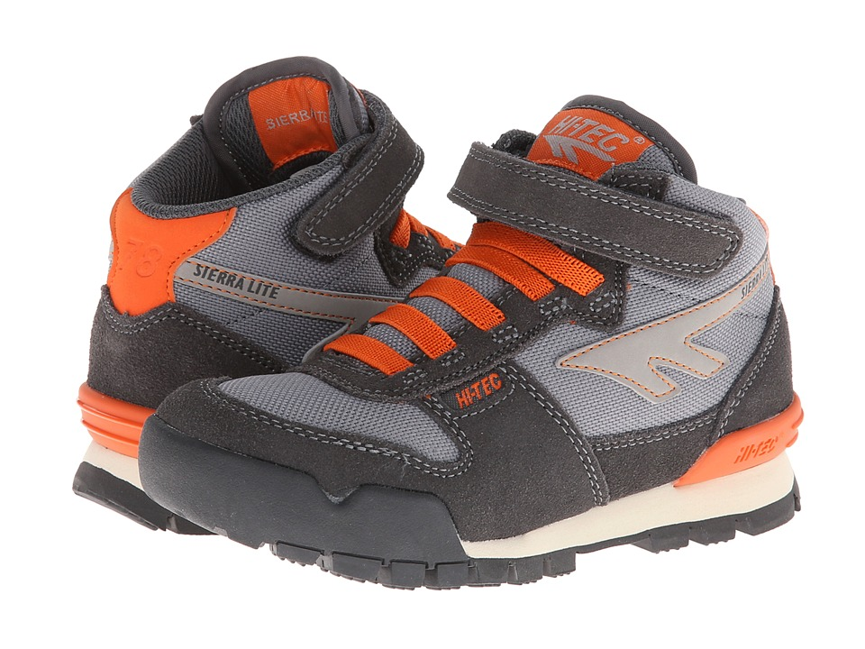 Hi-Tec Kids - Sierra Lite Original Jr (Toddler/Little Kid/Big Kid) (Charcoal/Grey/Tangelo) Boy's Shoes
