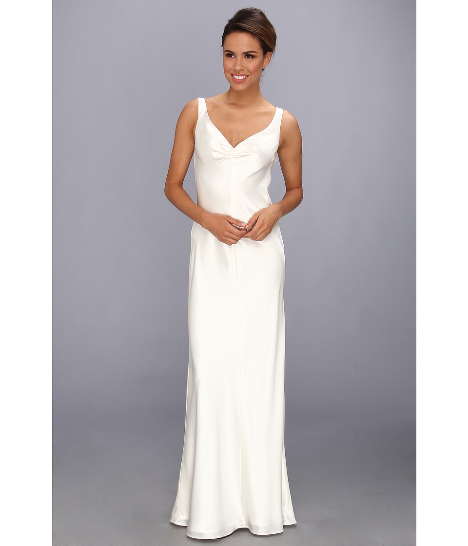 ABS Allen Schwartz - Sleeveless V-Neck Gown With Embellished Back (Ivory) Women's Dress