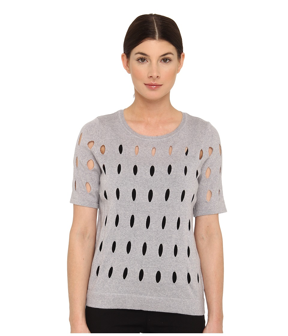 tibi - Hole Knit Sweaters All Over Hole Knit Shirt Pullover (Heather Grey M lange) Women's Short Sleeve Pullover