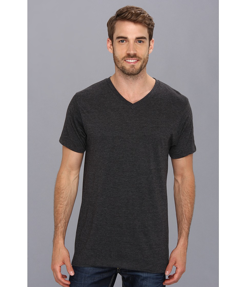 Prana - prAna V-Neck Tee (Charcoal) Men's Short Sleeve Pullover