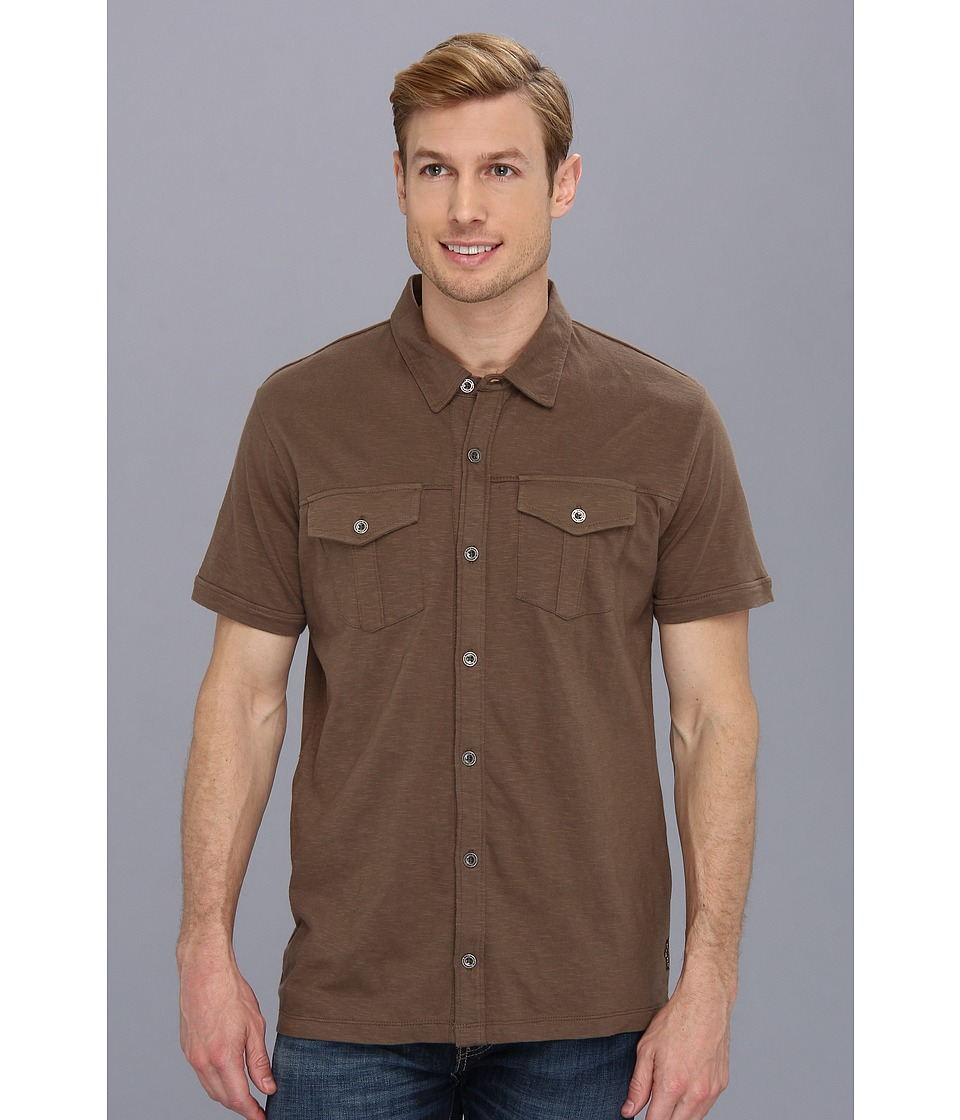 Prana - Hayes Button Down (Mud) Men's Short Sleeve Button Up