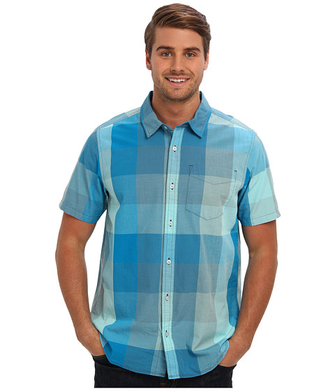 Prana - S/S Brighton Shirt (Baja Blue) Men's Short Sleeve Button Up