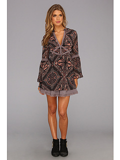 SALE! $81.99 - Save $66 on Free People Printed Poly Georgette Moonlight Bay Dress (Black Combo) Apparel - 44.60% OFF $148.00
