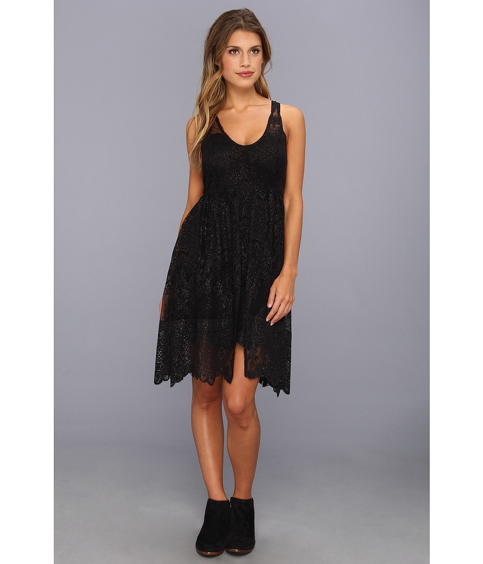 Free People - Kristal Lace Salinas Foil Print Dress (Black) Women's Dress