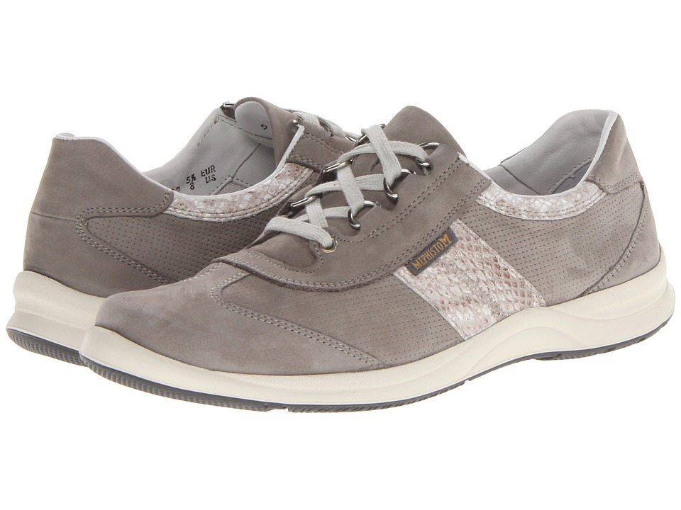 Mephisto - Laser Perfore (Light Grey Bucksoft/Light Sand Boa) Women's Lace up casual Shoes