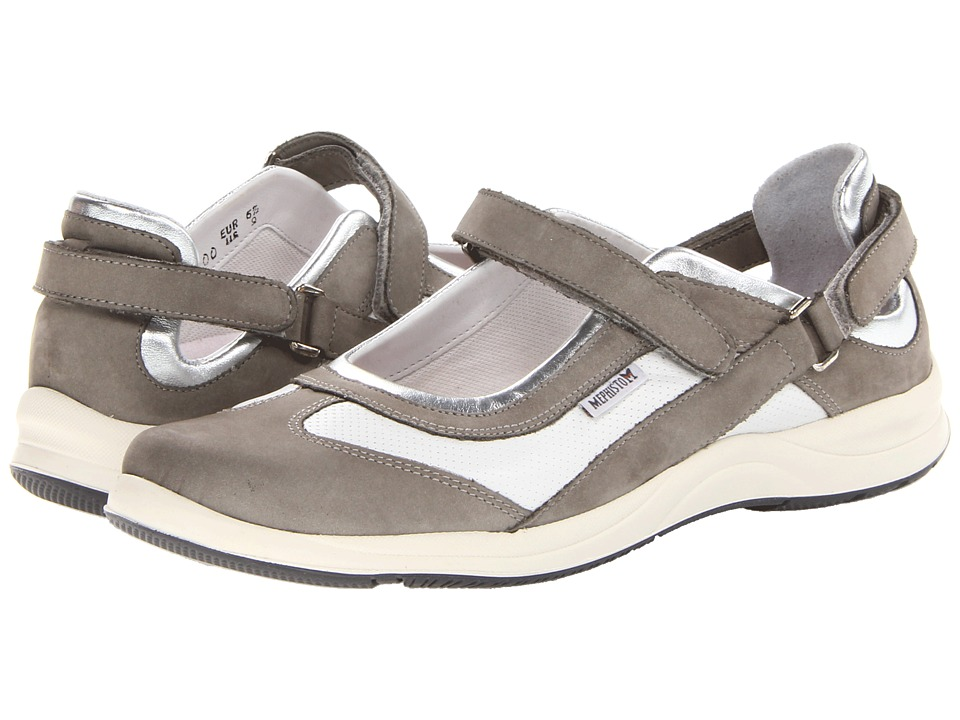 Mephisto - Lilou Perfore (Light Grey Nubuck/White Smooth/Nickel Perl Calfskin) Women's Hook and Loop Shoes