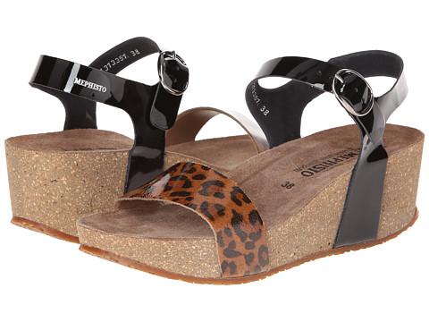 Mephisto - Fiona (Leopard Patent/Black Patent) Women's Sandals