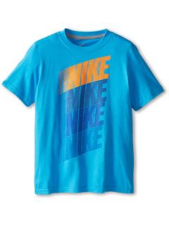 SALE! $14.99 - Save $3 on Nike Kids Block NSW Logo Tee (Little Kids Big Kids) (Vivid Blue Dark Grey Heather) Apparel - 16.72% OFF $18.00