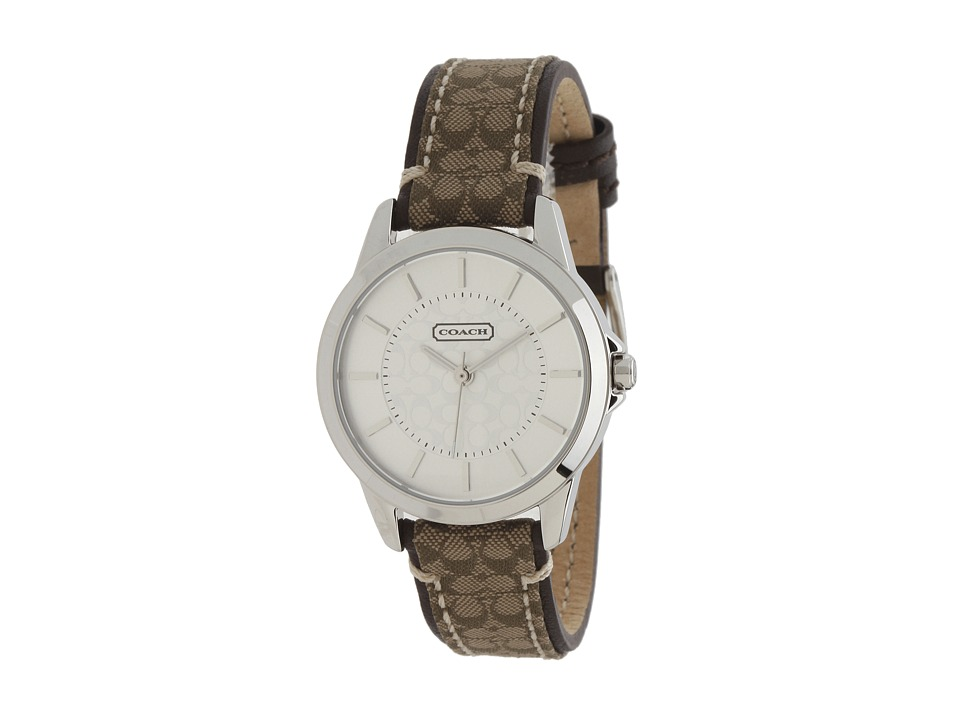 COACH - Classic Signature Strap Watch (Silver/Khaki) Watches