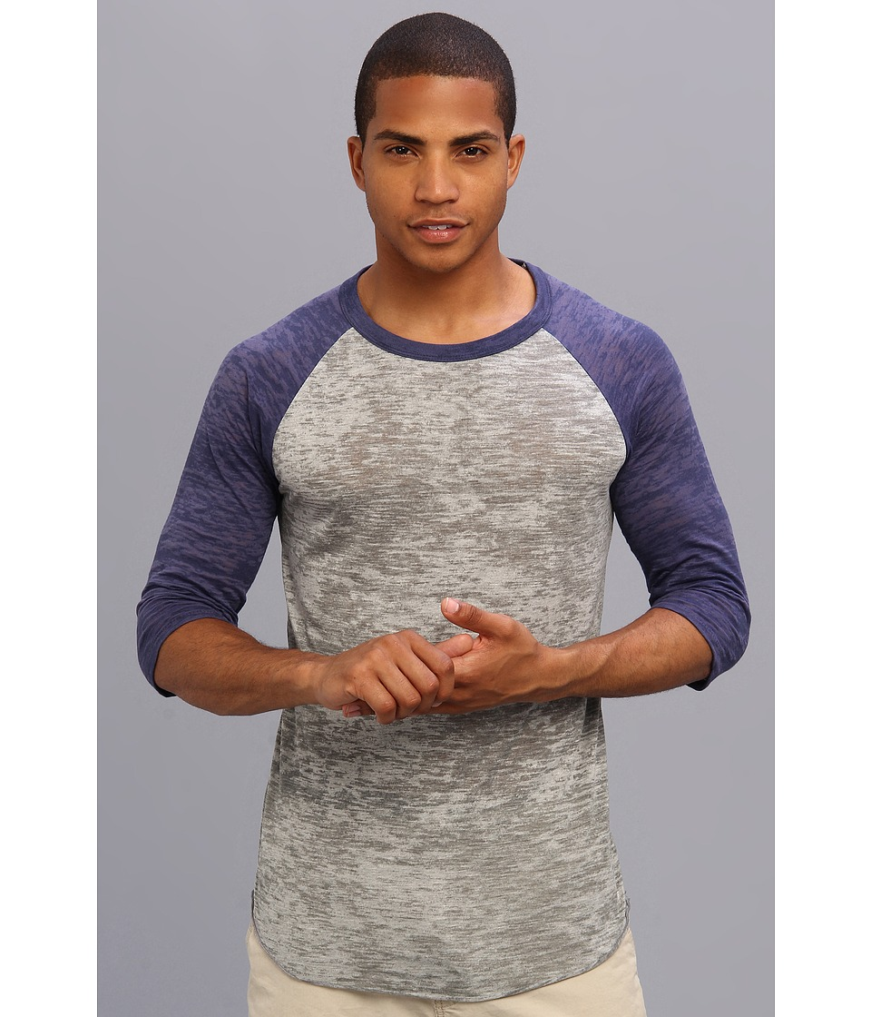 Alternative Big League Burnout Baseball Tee (Grey Heather/Navy) Men