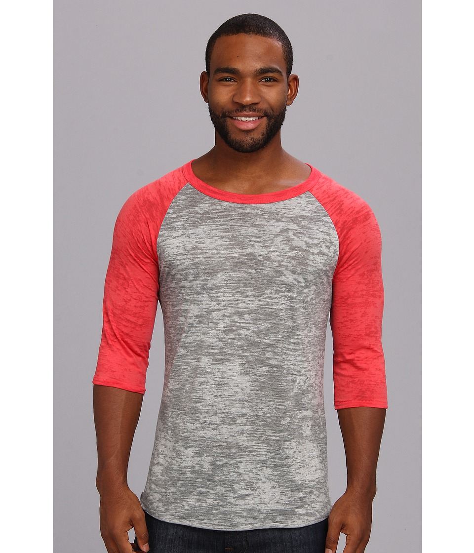 Alternative Big League Burnout Baseball Tee (Grey Heather/Red) Men