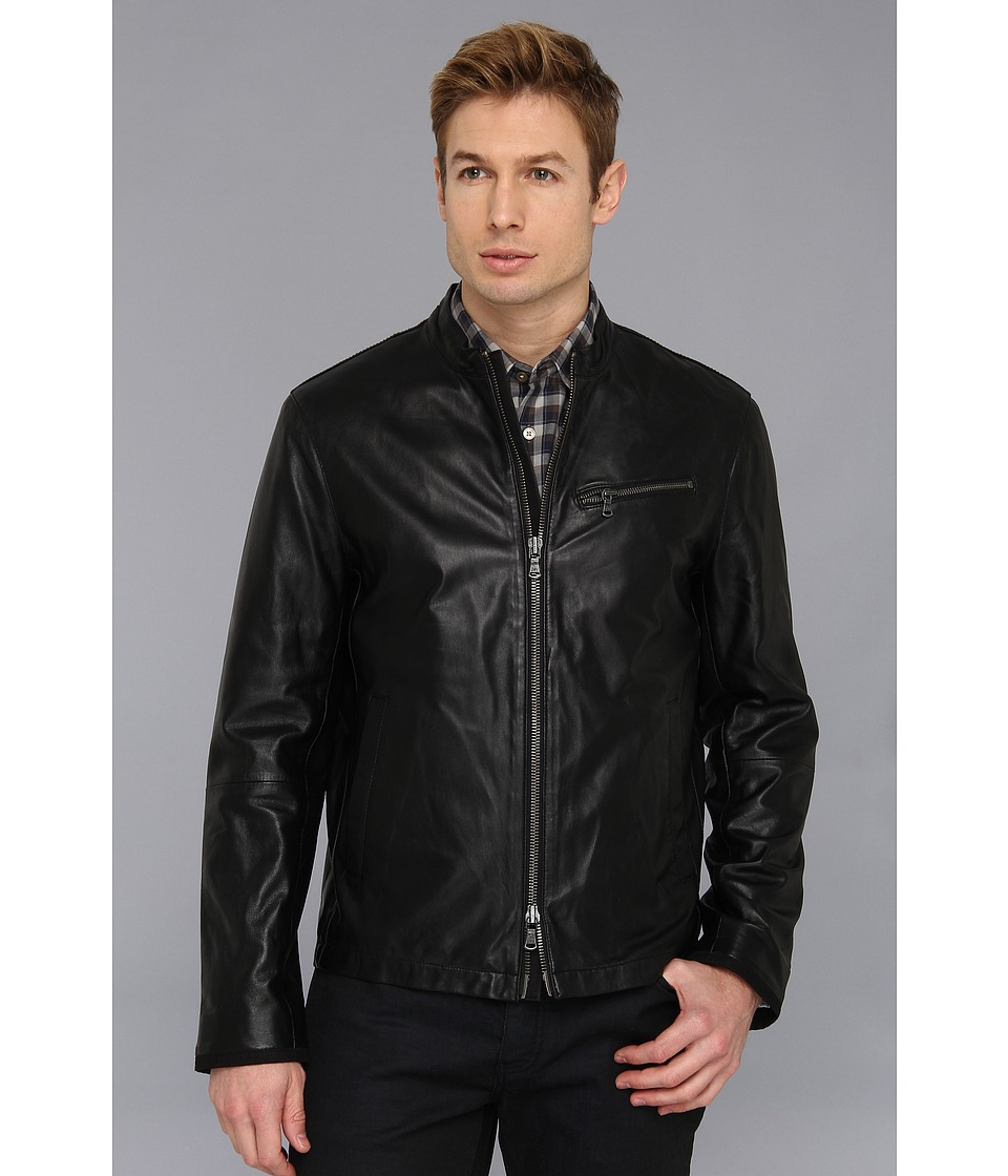 John Varvatos Star U.S.A. - Moto Jacket w/ Canvas Details (Black) Men's Jacket