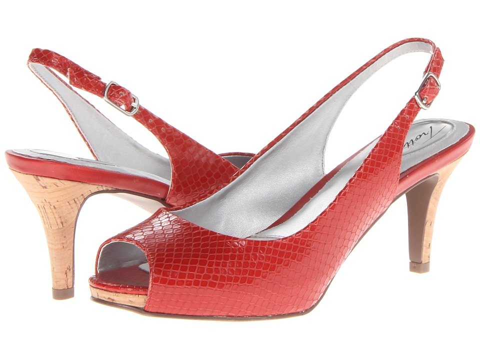 Trotters - Omega (Red Snake Embossed Leather) Women's Sling Back Shoes