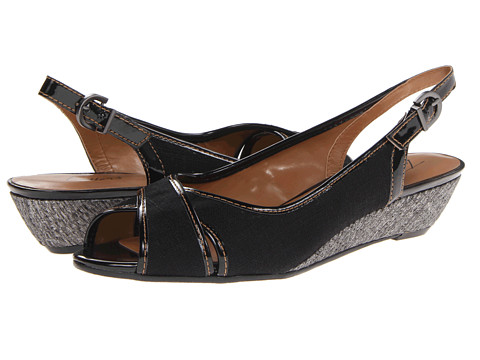Trotters - Calle (Black Linen/Patent) Women's Sling Back Shoes