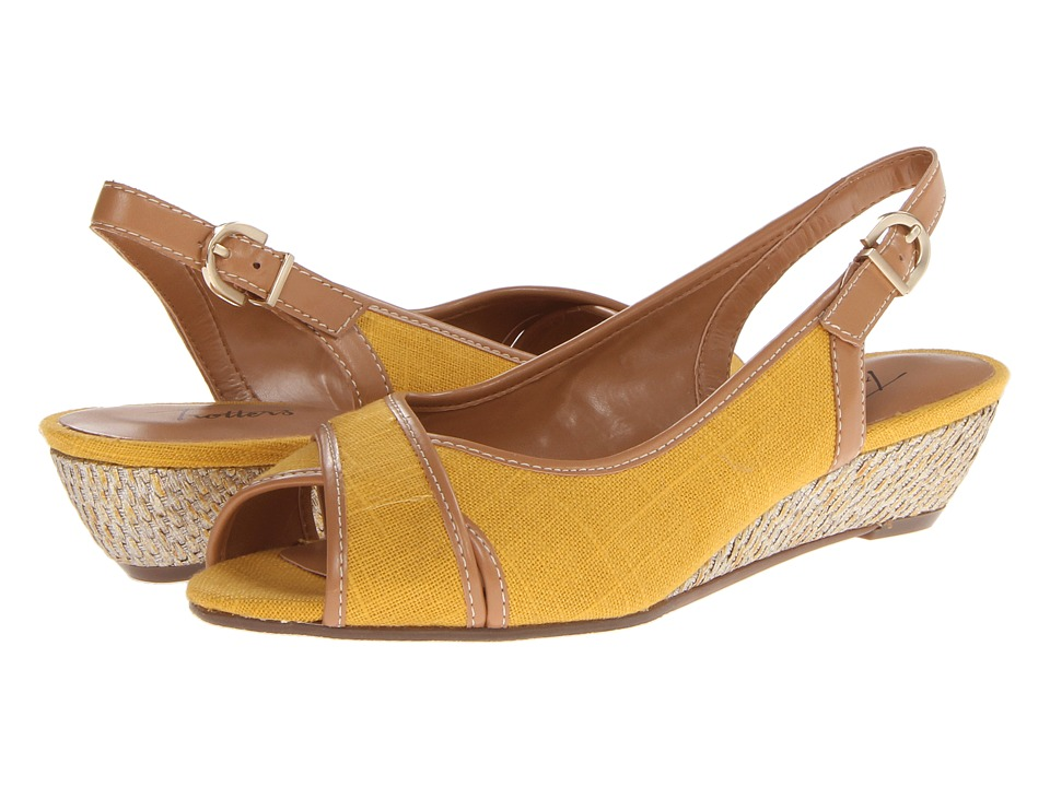 Trotters - Calle (Yellow Linen/Smooth) Women's Sling Back Shoes