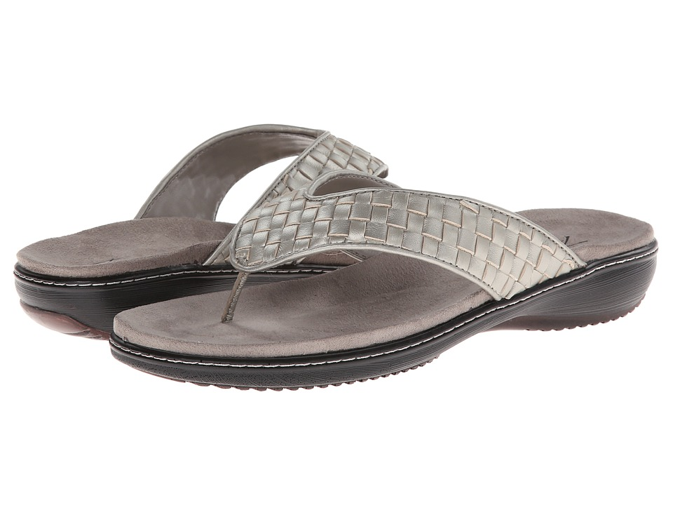 Trotters - Kristina (Silverwash Metallic Woven Soft Nappa Leather) Women's Sandals