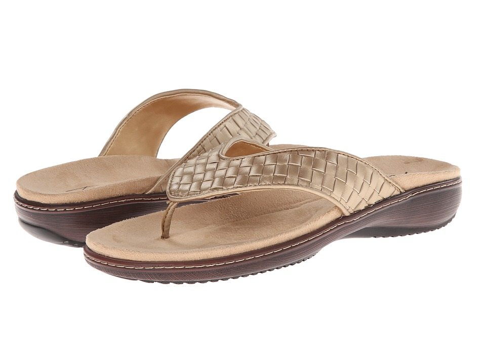 Trotters - Kristina (Goldwash Metallic Woven Soft Nappa Leather) Women's Sandals