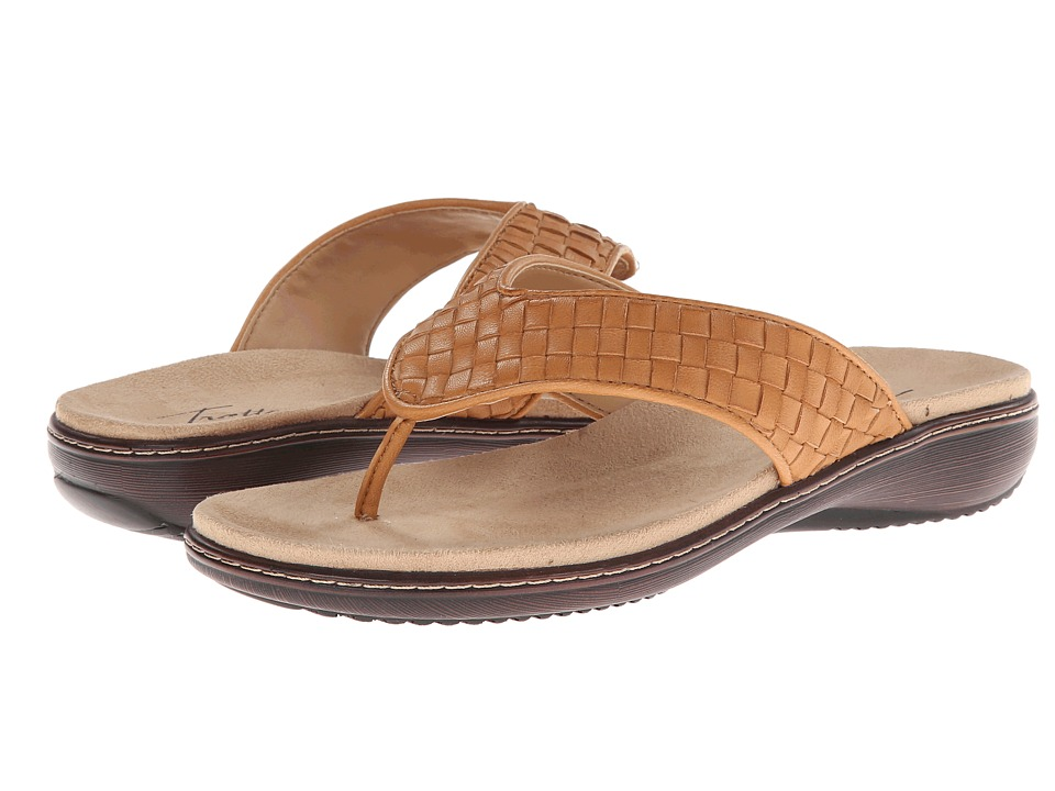 Trotters - Kristina (Tan Woven Soft Nappa Leather) Women's Sandals