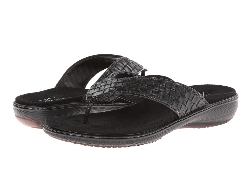 Trotters - Kristina (Black Woven Soft Nappa Leather) Women's Sandals