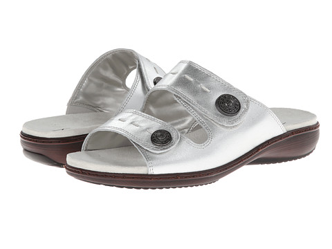 Trotters - Kitty (Silver Metallic Leather) Women's Hook and Loop Shoes