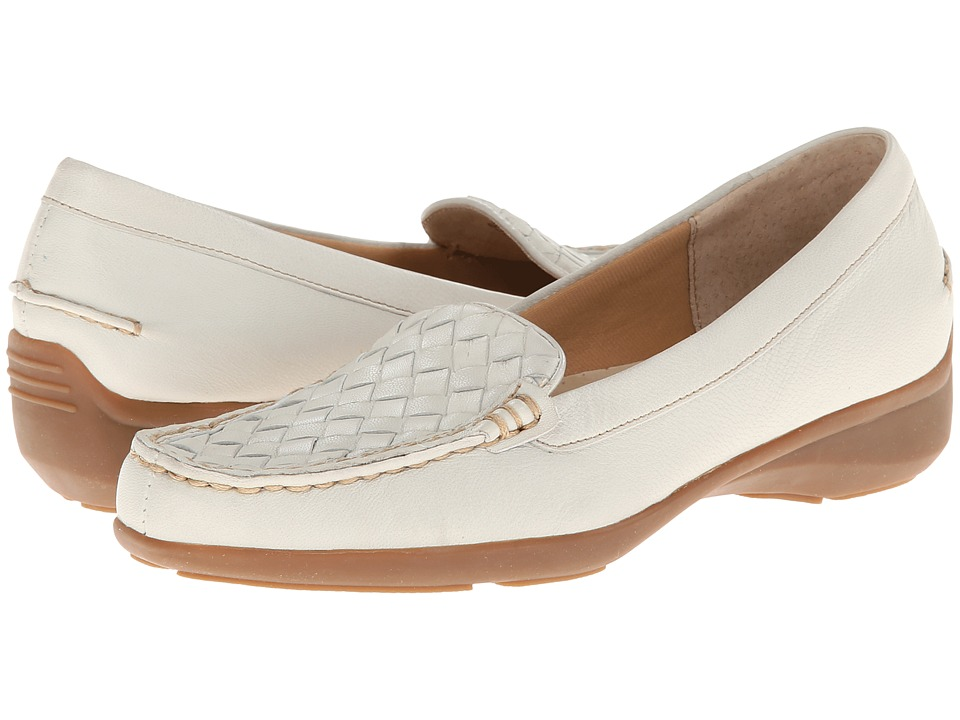 Trotters - Zane Woven - Zenith Bottom (Off White Soft Nappa Leatherf) Women's Slip on Shoes
