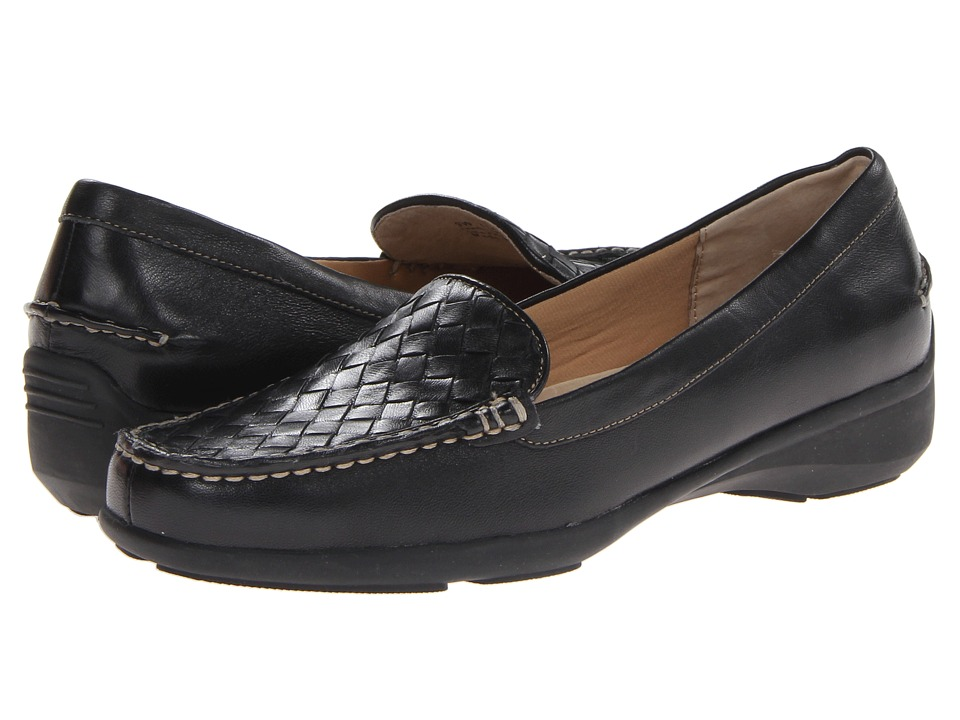 Trotters - Zane Woven - Zenith Bottom (Black Soft Nappa Leather) Women