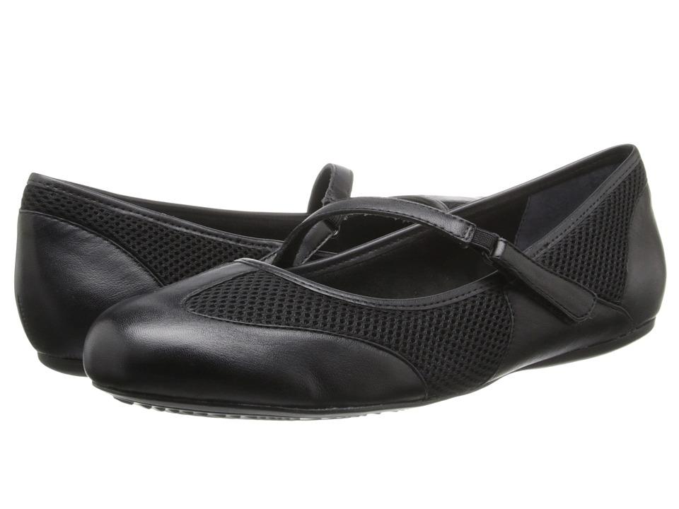 SoftWalk - Nadia (Black Leather) Women's Flat Shoes