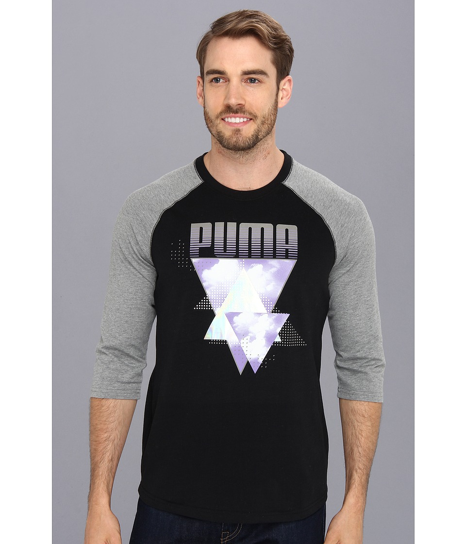 PUMA - Progressive Logo 3/4 Raglan (Black/Medim Gray Heather) Men's Long Sleeve Pullover